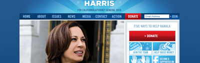 Kamala Harris home page screenshot